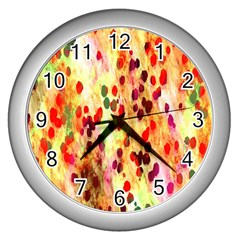 Background Color Pattern Abstract Wall Clocks (Silver)