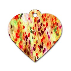 Background Color Pattern Abstract Dog Tag Heart (One Side)