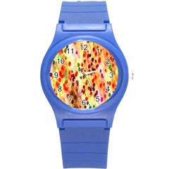 Background Color Pattern Abstract Round Plastic Sport Watch (S)