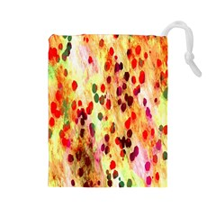 Background Color Pattern Abstract Drawstring Pouches (Large)