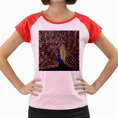 Multi Colored Peacock Women s Cap Sleeve T-Shirt