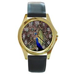 Multi Colored Peacock Round Gold Metal Watch