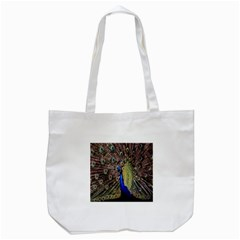 Multi Colored Peacock Tote Bag (White)
