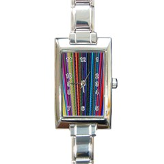 Multi Colored Lines Rectangle Italian Charm Watch