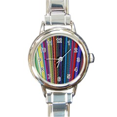 Multi Colored Lines Round Italian Charm Watch