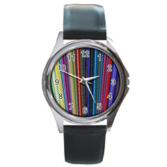 Multi Colored Lines Round Metal Watch