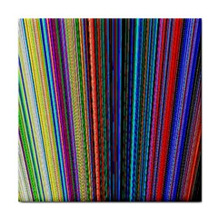 Multi Colored Lines Tile Coasters