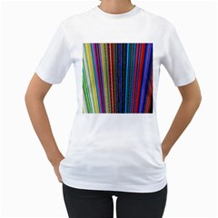 Multi Colored Lines Women s T-Shirt (White) (Two Sided)