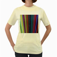 Multi Colored Lines Women s Yellow T-Shirt