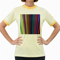 Multi Colored Lines Women s Fitted Ringer T Shirts