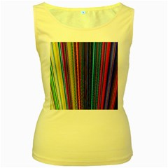 Multi Colored Lines Women s Yellow Tank Top