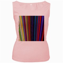 Multi Colored Lines Women s Pink Tank Top