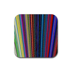 Multi Colored Lines Rubber Square Coaster (4 pack)