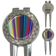 Multi Colored Lines 3-in-1 Golf Divots