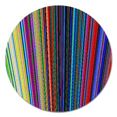 Multi Colored Lines Magnet 5  (Round)