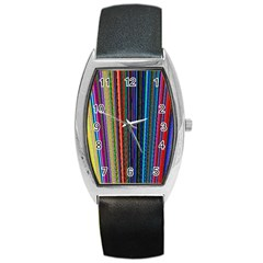 Multi Colored Lines Barrel Style Metal Watch