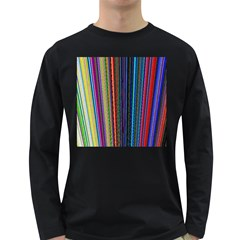 Multi Colored Lines Long Sleeve Dark T-Shirts