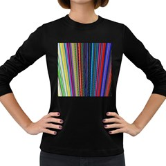 Multi Colored Lines Women s Long Sleeve Dark T-Shirts