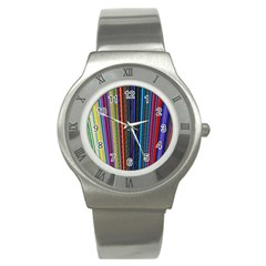 Multi Colored Lines Stainless Steel Watch