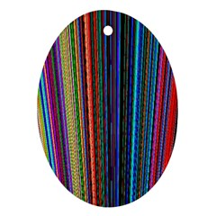 Multi Colored Lines Oval Ornament (Two Sides)