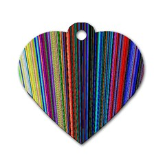 Multi Colored Lines Dog Tag Heart (one Side)