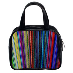 Multi Colored Lines Classic Handbags (2 Sides)