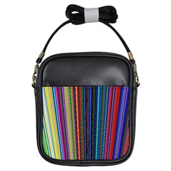 Multi Colored Lines Girls Sling Bags