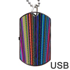Multi Colored Lines Dog Tag USB Flash (One Side)