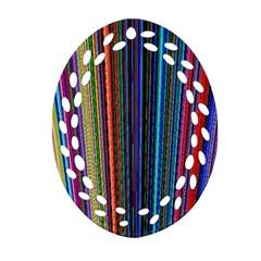 Multi Colored Lines Ornament (Oval Filigree)