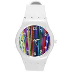 Multi Colored Lines Round Plastic Sport Watch (M)