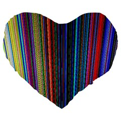 Multi Colored Lines Large 19  Premium Heart Shape Cushions