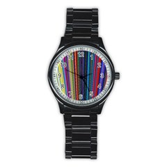 Multi Colored Lines Stainless Steel Round Watch