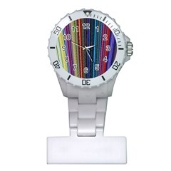 Multi Colored Lines Plastic Nurses Watch