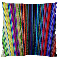 Multi Colored Lines Large Flano Cushion Case (Two Sides)