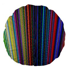 Multi Colored Lines Large 18  Premium Flano Round Cushions