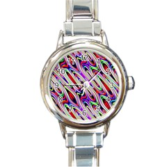 Multi Color Wave Abstract Pattern Round Italian Charm Watch