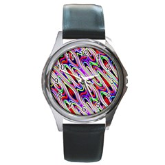 Multi Color Wave Abstract Pattern Round Metal Watch