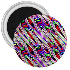 Multi Color Wave Abstract Pattern 3  Magnets