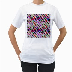 Multi Color Wave Abstract Pattern Women s T-Shirt (White) (Two Sided)