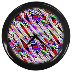 Multi Color Wave Abstract Pattern Wall Clocks (Black)