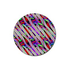 Multi Color Wave Abstract Pattern Rubber Coaster (Round)