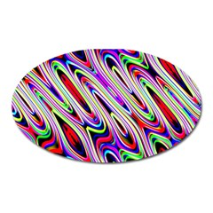 Multi Color Wave Abstract Pattern Oval Magnet