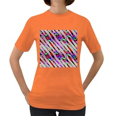 Multi Color Wave Abstract Pattern Women s Dark T Shirt