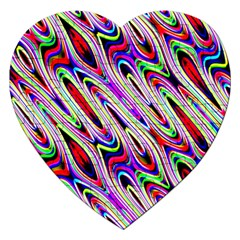 Multi Color Wave Abstract Pattern Jigsaw Puzzle (heart)