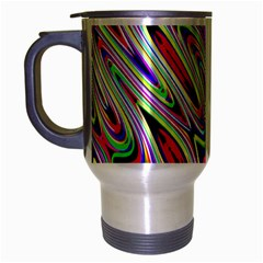 Multi Color Wave Abstract Pattern Travel Mug (Silver Gray)