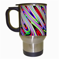 Multi Color Wave Abstract Pattern Travel Mugs (White)