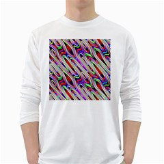Multi Color Wave Abstract Pattern White Long Sleeve T Shirts