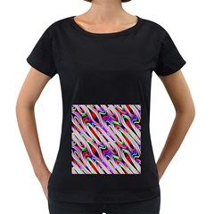 Multi Color Wave Abstract Pattern Women s Loose-Fit T-Shirt (Black)