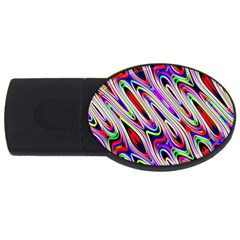 Multi Color Wave Abstract Pattern USB Flash Drive Oval (4 GB)