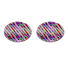Multi Color Wave Abstract Pattern Cufflinks (oval)